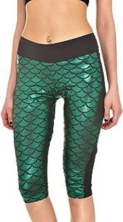 Women's Mermaid Fish Scale Printed Shine Capri Leggings S-4XL