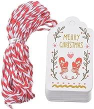 TOOGOO 50 Pz Regalo di Natale Tag Etichette d'epoca Regali di carta Tag Stampa Buon Natale Decor Party con corda 10m