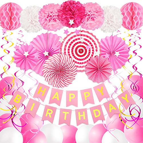 Whaline 40pcs Birthday Party Decoration, Pink Happy Birthday Banner, 15 Balloons, 10 Hanging Swirls, 7 Paper Pom Poms Flowers, 6 Paper Fan Tissue, 1 Star Banner, Birthday Party Supplies for Girl Women