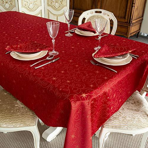 Bg Europe Tovaglia con stelle di Natale di alta qualità; Ref. Christmas Star Red, Trattamento anti macchia, colore rosso (59 x 78