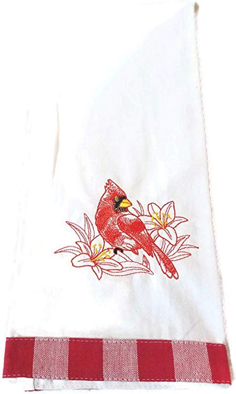 Cardinal Embroidered Kitchen Towel Kitchen Decor
