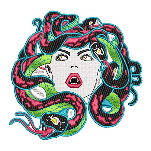 Medusa Mythology Cryptid Neon Embroidered Premium Patch DIY Iron-on or Sew-on Decorative Badge Emblem Vacation Souvenir Travel Gear Clothes Appliques