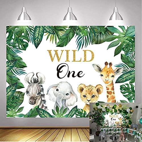 WDA Wild One Birthday Happy Background Jungle Safari Fotografía Telón de fondo Elefante León Decoración Banner Infantil Primer Cumpleaños Suministros Estudio Props (Imagen original)