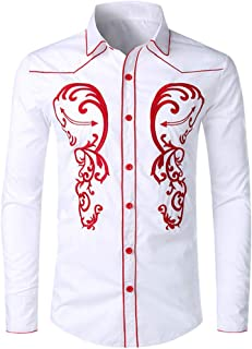 Fashion Embroidery Print Tops Workwear Long Sleeve Lapel Collar Shirt Comfort Button Down Shirts for Men