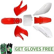 KLX110 Plastic Kit Fairing fender Kit for Kawasaki KX60 Suziki DRZ110 Pit Dirt Bike, Red & White, Green Gloves