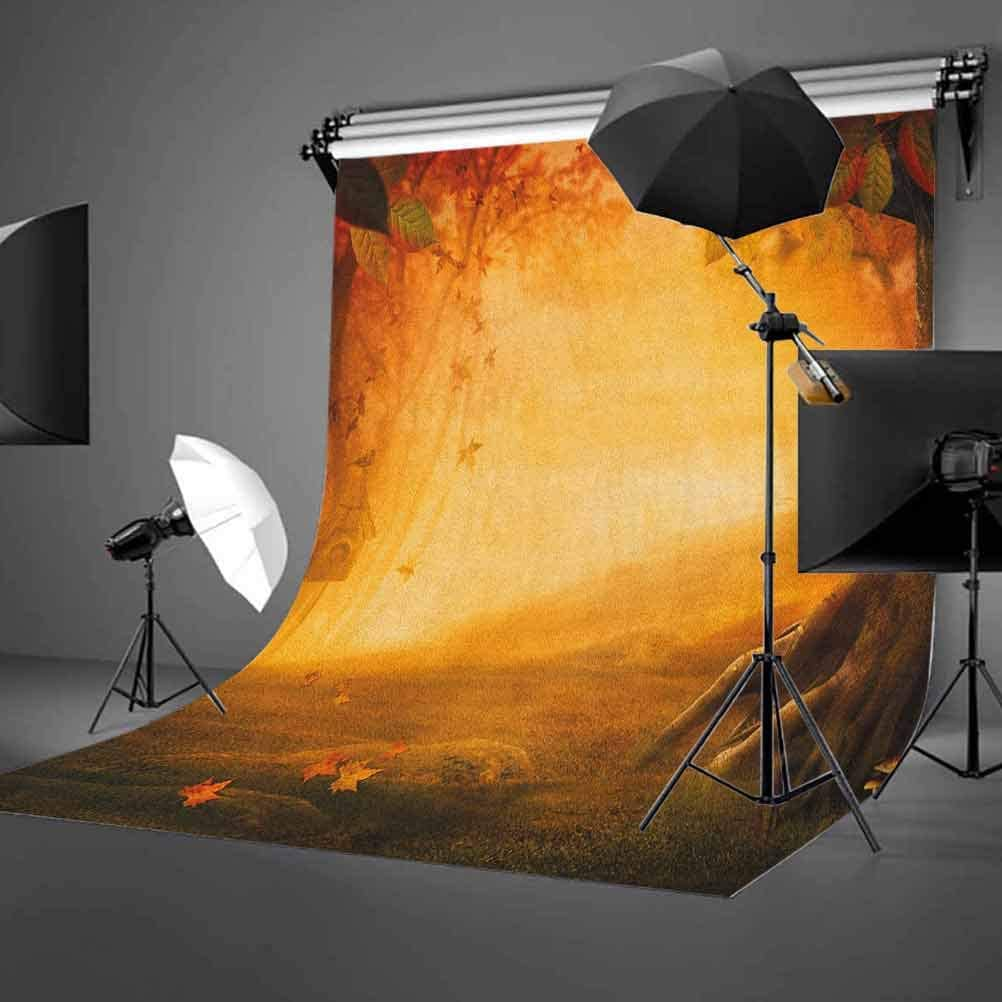 8x12 FT Fall Vinyl Photography Background Backdrops,Mysterious Valley with Mushrooms and Falling Leaves Bird House Fall Forest Background for Selfie Birthday Party Pictures Photo Booth Shoot