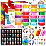 DIY Slime Kit - 24 Colores Kit de Slime Esponjoso con 48 brillantinas,...
