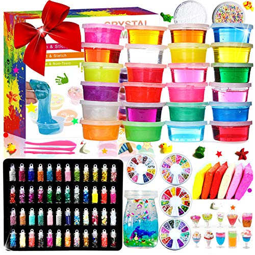 DIY Slime Kit - 24 Colores Kit de Slime Esponjoso con 48 bri