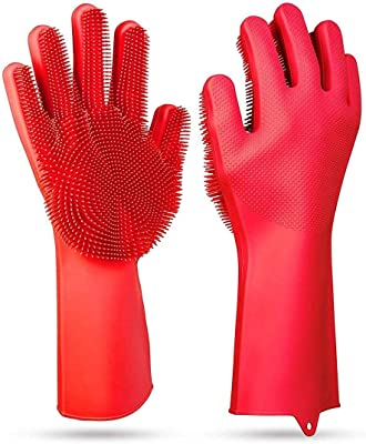 EKRON (2 Pair) Silicone Scrubbing Gloves/Latex Free Cleaning Gloves with Scrubber for Dishwashing Pet Grooming Car Window Cleaning (Random Color)