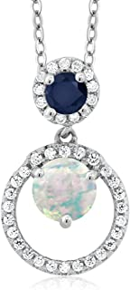 Gem Stone King 1.26 Ct Round Cabochon White Simulated Opal Blue Sapphire 925 Silver Pendant