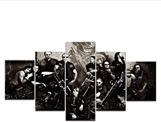 Wuwenw 5 Pcs Hd Printed Canvas Tv Series Sons Of Anarchy Posters Print On Canvas Wall Art Painting For Home Living Room Decoration,4X6/8/10Inch,With Frame
