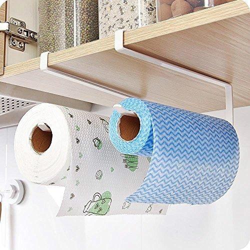 Portarrollos de papel para toallas, de acero inoxidable, para colgar debajo del armario, rollo de papel de reserva sobre la puerta, organizador de soporte para colgar rollo de papel para el