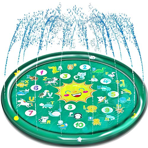 Neteast Outdoor Kids Splash Pad Toys for Toddlers, Outside Baby Sprinkler Mat Summer Water Toys for 1 2 3 4 5 6 7 Year Old Boys and Girls