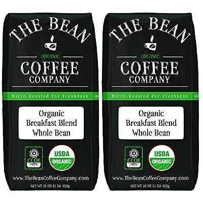 The Bean Coffee Company Organic Breakfast Blend, Medium Roast, Whole Bean, 16 Oz Bags (Pack Of 2)