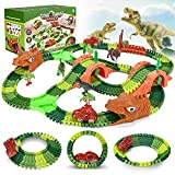 Dinosaurier Rennstrecke Auto Spielzeug Set, 265 Stück Dinosaurier Spielzeug Set mit 2 Leuchtenden Dinosaurier Auto, Flexible Bahngleise Spielset mit Dinosaurier Lernspiele Geschenke für Kinder
