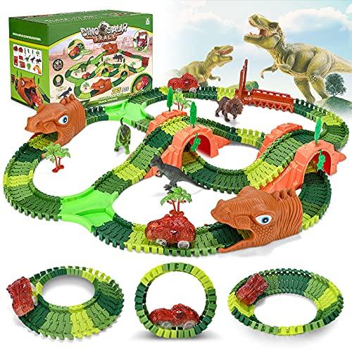 Juguetes de Pista Coche Dinosaurio para Niños, 265 Piezas Dinosaurios Pista de Coches con 2 Dinosaurio Coche Iuminiscente,Circuitos de Carreras de Juguete para Niños para Niños Regalo