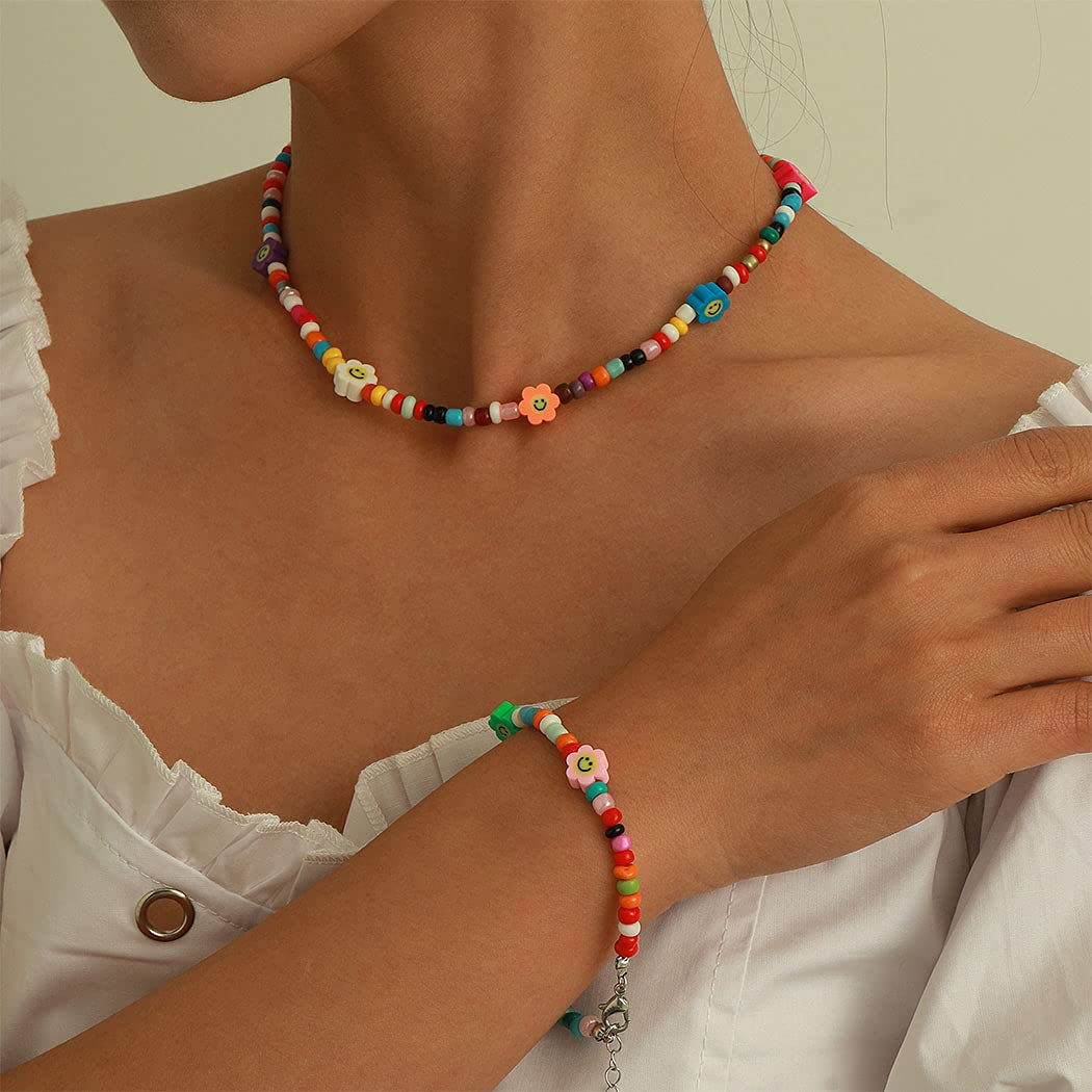 Jeairts Colorful Beaded Choker Necklace with Smiley Face Bracelet Rainbow Flower Bead Short Chain Necklaces Boho Y2k Chain Necklace Jewelry Gifts for Women and Girls