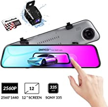 Backup Camera Car Mirror Dash Cam,12'' IPS Full Touch...