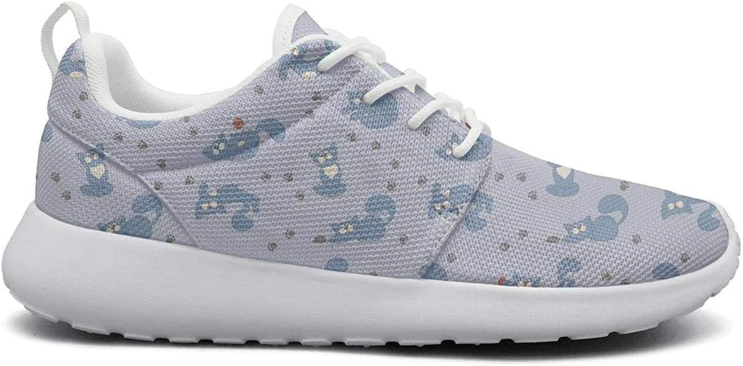 Tasbon Women's Playful bluee Cats Ball and Paw Mice Ultra Lightweight Breathable Mesh Athleisure Walking shoes