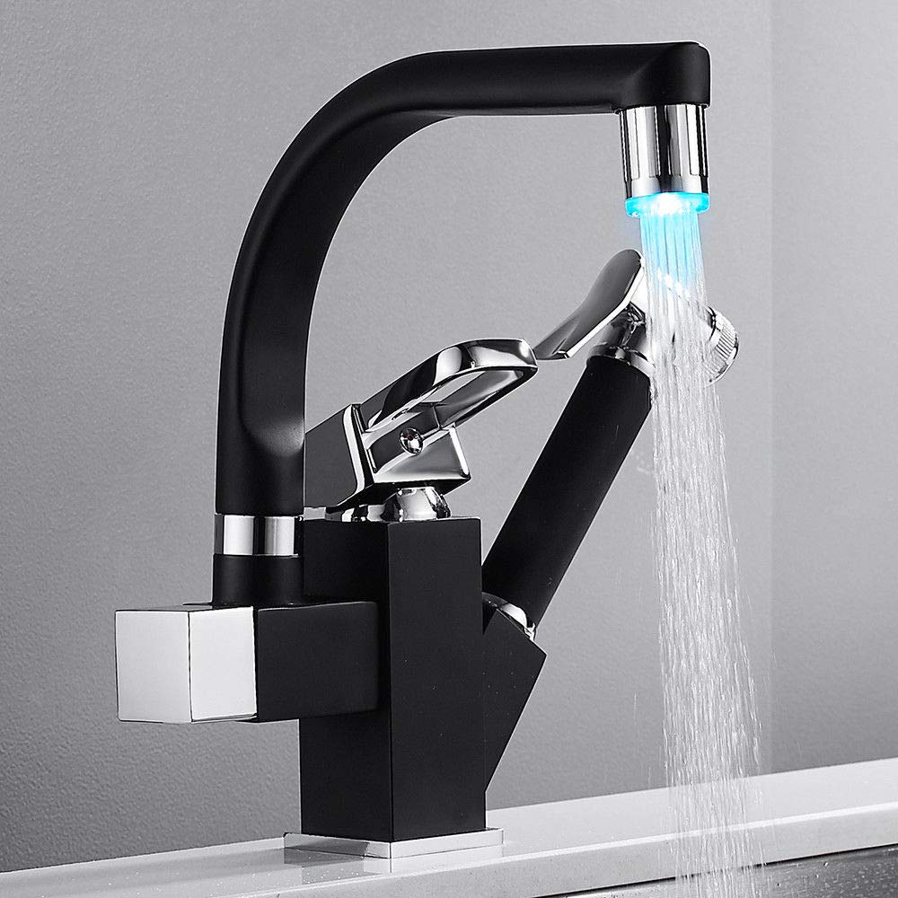 LED 360°Swivel 2 Handle Kitchen Faucet Sink Mixer Sprayer Pull Down Spout Tap