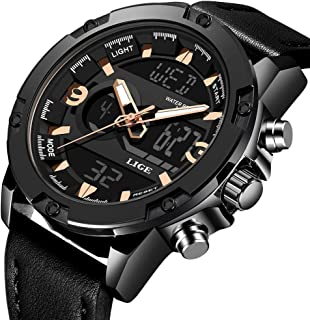 Men's Watches Sports Analog Digital Quartz Watch Waterproof Casual Wristwatch Dual Time Display Army Watch Stopwatch for Men (Black)