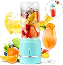 Portable Blender, Yeaky Personal Blender for Shakes and Smoothies with a Travel Lid, USB Rechargeable Blend Jet, Serve as Power Supply, 14oz/420ml Glass Juice Mixer for Home, Office,Gym,and Outdoor(Blue)