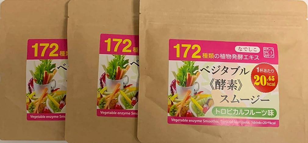 中毒特異な寝るなでしこ ベジタブル酵素入り グリーンスムージー(トロピカルフルーツ味)300g (100g×3パック)で20%OFF