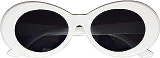 نظارات Clout الشمسية البيضاوية الكلاسيكية الكلاسيكية نظارات شمسية دائرية، بيضاء جريئة إطار سميك كلاسيكي
