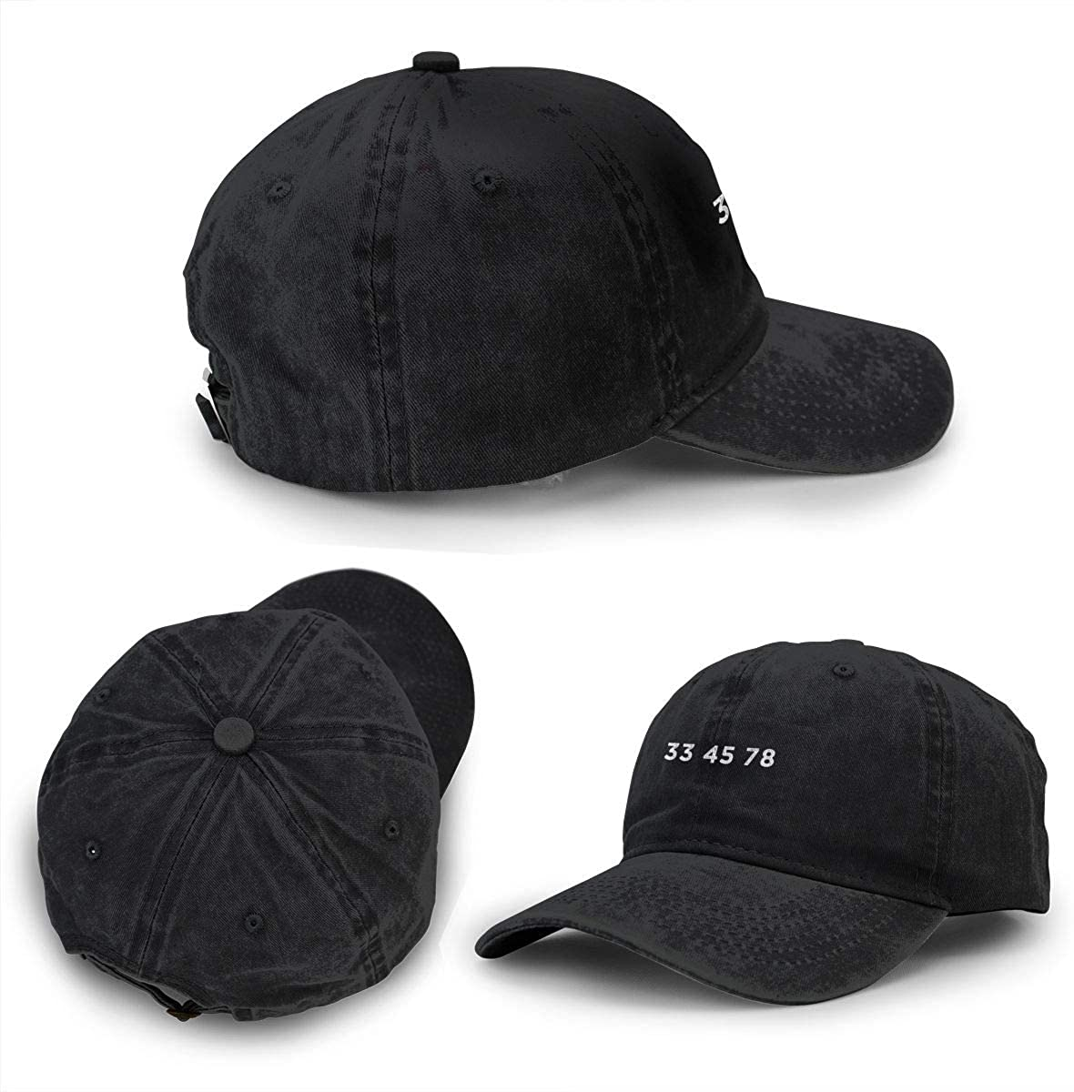 33 45 78 RPM Cowboy Baseball Caps Denim Hats for Men Women