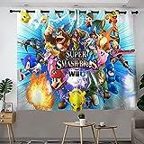 Super Smash Bros. Cortinas para decoración de cocina, juego de sala de estar/dormitorio, elegantes cortinas filtrantes de luz energéticamente eficientes W63 x L72