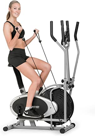 Powertrain Elliptical Cross Trainer Exercise Bike Home Gym Bicycle with Resistance Bands