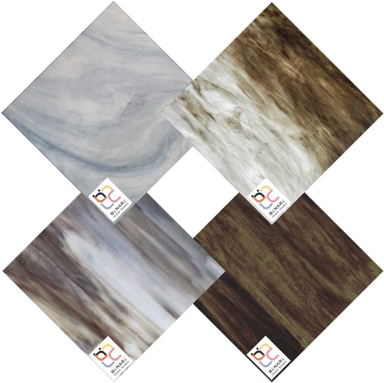 SEAL limited product Wissmach 4 Sheet Mixed Color Stained Brown Variety Glass Portland Mall Pack