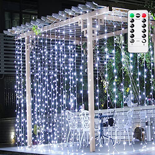 Ollny Curtain Fairy Light, 3m x 3m 300 Led Curtain String Light USB Powered with Remote Control & Auto Timer, Adjustable Brightness for Outdoor, Indoor, Bedroom, Patio Wedding, Party Decoration