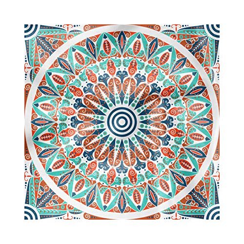Lunarable Decorative Satin Napkins Set of 4 Moroccan, Floral Geometry Complex Design Medallion Middle Ages Tribal Art, Square Printed Party & Dinner Napkin, 12