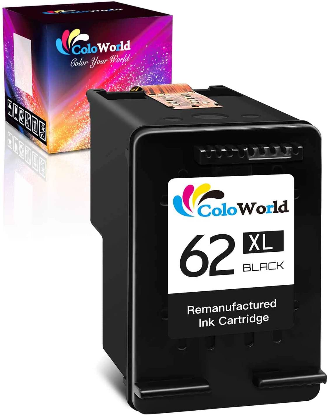 ColoWorld Remanufactured Ink Cartridge Replacement for HP 62XL 62 XL Work with Envy 7640 5660 5540 5661 5642 5640 5640 5663 5544 5542 5549 OfficeJet 5740 250 5745 5746 200 Printer Tray ( 1 Black)