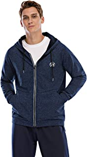 Men's Fleece Hooded Jacket, Long Sleeve Full Zip Midweight Hoodie Sweatshirt Reflective Track Top with Pockets