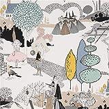 Cremefarbener Stoff mit Bäumen in Blaugrau sowie Menschen