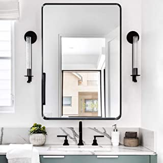 Decorar Rectangle Bathroom Mirror Wall-Mounted - 22''x30'' Rounded Corner Stainless Frame Black Wall Mirror Hangs Horizont...