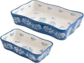 Bakeware Set, Wisenvoy 2 PCS Heat-Resistant Ceramic Baking Dish Set, Rectangular Hand Painted Flower Design Baking Dish Se...