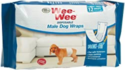 Four Paws Wee-Wee Disposable Male Dog Wraps, X-Small/Small 48ct (4 x 12ct)
