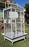 【Large Elegant and Durable Wrought Iron Construction】 Parrot Bird cage with Parrot Safe non toxic powder coated finish 【Large Overall Dimensions: 30.5''L x 29.5''W x 65''H】 with an overall height (Including stand, Around seed guards and Play Top); 【L...