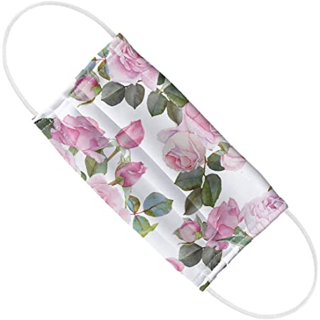 Petite Pink Stemmed Roses Floral Printed Grosgrain Ribbon Face Masks 58  Inch Sewing Decorating Luggage Crafting