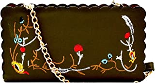 Scallop Trim Flower Embroidered Vegan PU Leather Cellphone Wallet Crossbody with Chain Strap