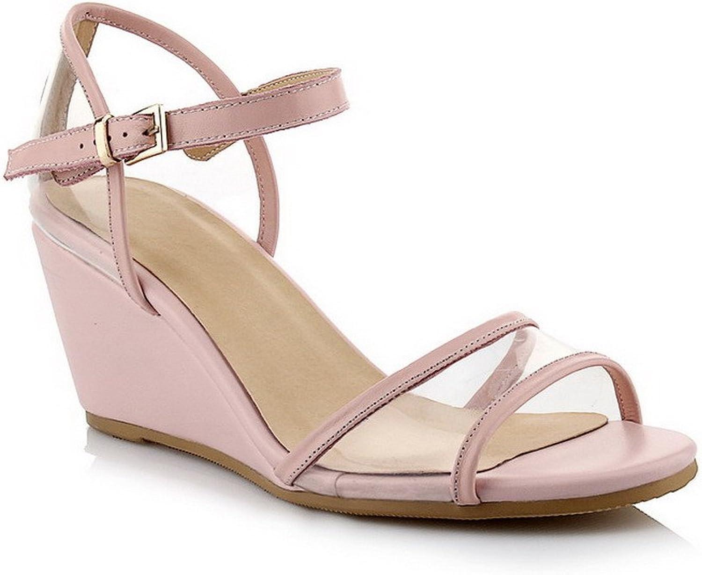 0e004dcabf AmoonyFashion Women's Buckle Kitten-Heels Blend Materials Solid Open Toe  Sandals