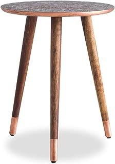 Edloe Finch Side End Table Boho Solid Wood Legs, Copper