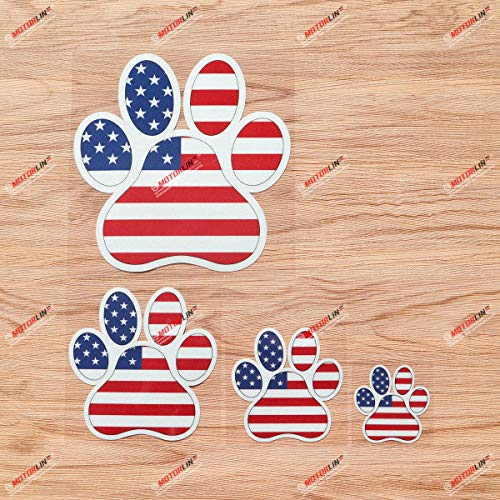 Dog Paw Print Track K9 Unit American Flag Vinyl Decal Sticker - 4 Pack Reflective, 2 Inches, 3 Inches, 4 Inches, 6 Inches - for Car Boat Laptop Cup Phone