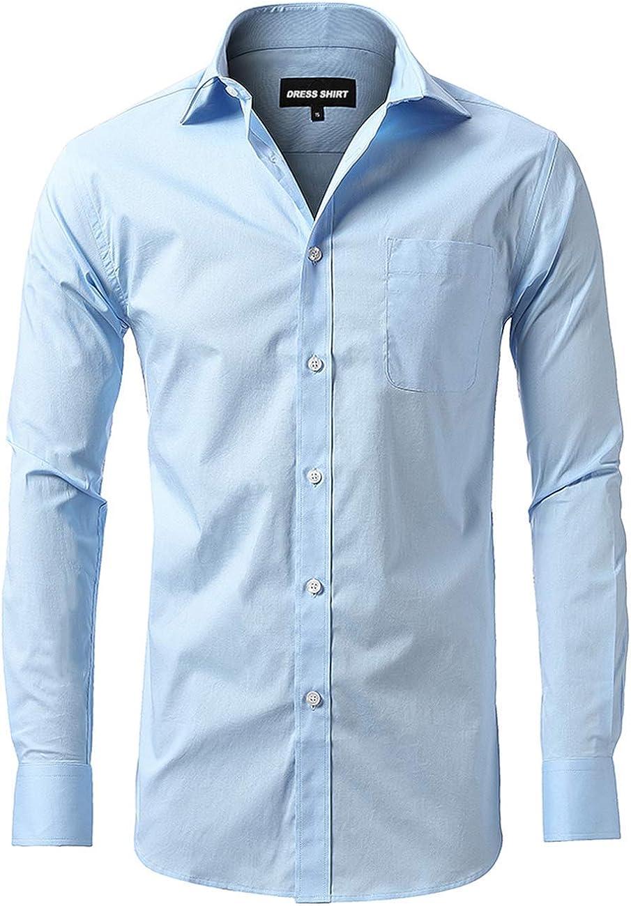 Uniforms Young Men's Long Sleeve Button Down Shirts,Cotton Stretch Work Shirt