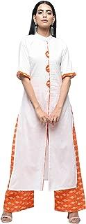 Zoeyams Womens Off-white Cotton Long Straight Kurta With Cotton Palazzo