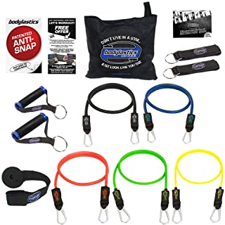 Bodylastics Resistance Bands Set with Patented Anti-Snap Elastics, Patented Clips, Upgraded Handles, Door Anchor, Legs, Wrist Ankle Straps, Manual & Bonus 44 Workouts.