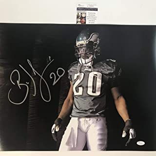 Autographed/Signed Brian Dawkins Visor Philadelphia Eagles 16x20 Football Photo JSA COA